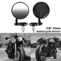Lenkerendenspiegel Motorrad Rund Spiegel Seiten Rückspiegel Universal 7/8'' 22mm