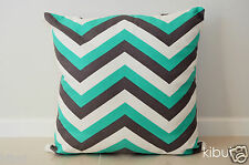 Chevron Home Decor Cushion Cover Throw 100 Cotton Dark Grey/green 45cm