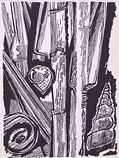 "HANS ORLOWSKI ltd ed mounted original woodcut, 1961, seashells, 14 x 11"" DP29"
