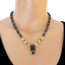 djs Sundance Sol Smoky Quartz Citrine Garnet Stone Sterling Silver Bead Necklace