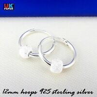 925 STERLING SILVER 12mm HOOP EARRINGS WITH STARDUST BALL BEADS SOLID NOSE RINGS