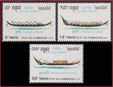 CAMBODGE  N°892A/892C** Bateaux pirogues 1989 CAMBODIA Khmer Boats NH Kambodscha