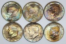 Lot of 6 1964 90% Silver Kennedy Half Dollars Rainbow Colorful Toning