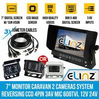 """7"""" Monitor Caravan 2 Reversing Camera Kit System CCD 4PIN 3AV MIC 600TVL 12V 24V"""