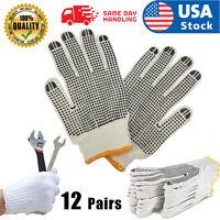 12 PAIRS WHITE POLY COTTON STRING KNIT WORK SAFETY GLOVES Nylon Glove