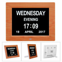 8'' LED Dementia Digital Calendar Day/Week/Month/Year Clock Large Letter