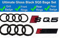 Audi SQ5 Gloss Black Badge Grille & Boot Rear Badge Emblem Set Rings