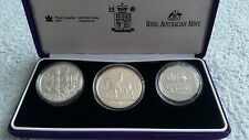 2002 Australia 50 Cents, Canada One Dollar, UK Five Pounds Silver  3 Coin + COA
