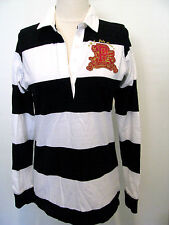 US POLO ASSN Black And White Long Sleeve Polo Style Shirt Size M
