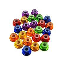RC Wheel Nuts Nyloc Anodised Aluminium Flanged M4. For Tamiya, Traxxas, HPI ect