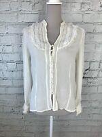 WAREHOUSE - Cream Crochet Detail Long Sleeve Sheer Blouse - Womens - Size 14