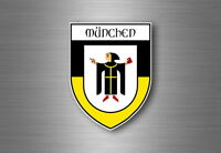 Sticker decal souvenir car coat of arms shield city flag munich germany