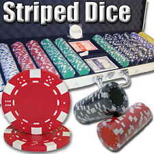 New 600 Striped Dice 11.5g Clay Poker Chips Set with Aluminum Case - Pick Chips!