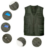 Mens Puffer Waistcoat Gilet Body Quilted Jacket Large Pockets Sleeveless Vest