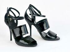 Gucci Black Patent Leather Ankle Strap Strappy Heels Sandals Size 5 B