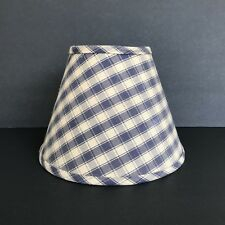 Vintage Lampshade Blue and Beige Checked Plaid Cloth Lampshade Clip On 10' Wide