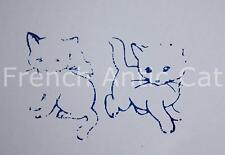 Ancien tampon scolaire bois plastique animal chat chaton 6*4,5 cm école A216b