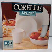 CORELLE LIVINGWARE BY CORNING White 16 Piece Set + 1 Serving Bowl Vintage READ