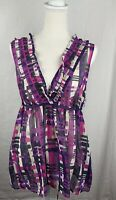 New York And Company Sheer Purple Multicolor Sleeveless Top  Blouse Size 18