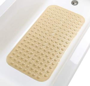 "Non-Slip Bathtub & Shower Mat 31""x16"" Washable Grip &Drainage Opaque Light Brown"