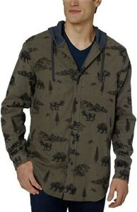 UNIONBAY Men's Classic Flannel Hooded Button Down Shirt - M (Military Green)