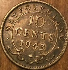 1943 NEWFOUNDLAND SILVER 10 CENTS DIME