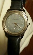 Eddie Bauer Mens Leather Band Watch NEW Battery.WORKS 100 ft Water Resistant