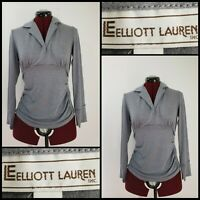 Elliott Lauren Woman Long Sleeve Gray Shimmer Ruched Blouse Size Small S