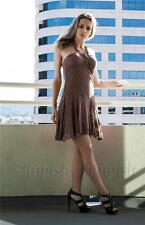 TABOO Brown Beaded Halter Crochet Mini Dress