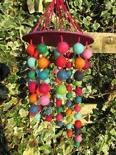 FairTrade Hand Made Nepalese Rainbow Felt Pom Pom Ball Children's Hanging Mobile