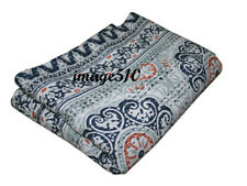 Indian Kantha Queen Quilt Throw Blanket Coverlet Ethnic Boho Cotton Bedspared