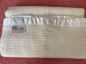 Vintage Onehunga NZ Wool Princess Aircell Cream COT Blanket 92x155cm UNUSED