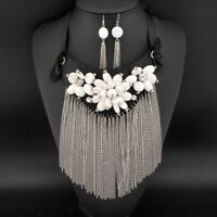 Long Chain Tassel Statement Necklace Earring Jewelry Set Resin Flower Rhinestone