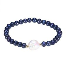 Women Natural Bracelet Near Round Black Pearl Big Irregular White Pearl Jewelry