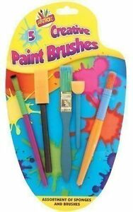 New Children's 5 piece Creative Sponge Paint/Glue Brushes Set- Arts & Crafts
