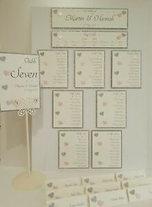 Forever Love Wedding Table Plan Numbers Place Names, glitter & hearts sparkle