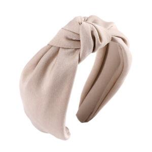 Women's Knot Headband Tie Hairband Plain Wide Hair Band Hoop Accessories Casual