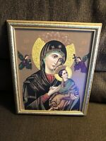 Greek? BreathtakIng Virgin Mary & babyJesus Picture In Beautiful Frame