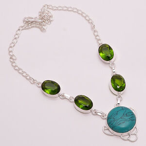 925 Sterling Silver Overlay Necklace, Turquoise, Peridot Gemstone JewelryPN82