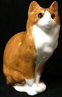 "Vintage California Glaze 11"" Ceramic Tabby Cat Figurine Statue With Glass Eyes"