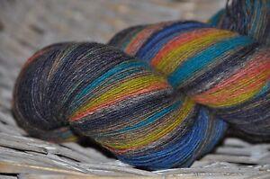 100% Schurwolle Tücherwolle Schafwolle Wolle Lace Strickgarn handgefärbt *916*