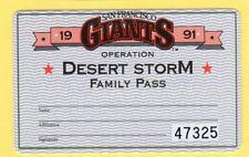 1991 SF Giants Ticket Pass Will Clark/Matt Williams/Kevin Mitchell/Rob Thompson