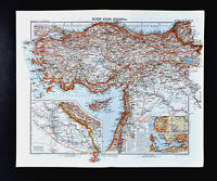 1911 Stieler Map Turkey Constantinople Iraq Palestine Syria Cyprus Jerusalem