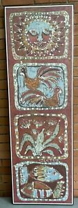 Rare Vintage Brother CLETUS Religious Batik Wall Hanging Mid Century Modern Art
