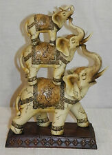 "NEW 11.5"" AFRICAN ASIAN 3 TIER LUCKY ELEPHANT DECORATIVE STATUE FIGURE BEAUTIFUL"