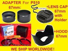 CAMERA LENS ADAPTER+FILTER KIT+HOOD+CAP 67mm > Nikon Coolpix P500 P510 P520 P530