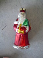 Vintage Glass Christmas Ornament Santa Claus LOOK