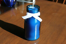 Teacup candle, Blue glass bottle white bow, quirky gift,  pale blue paraffin wax