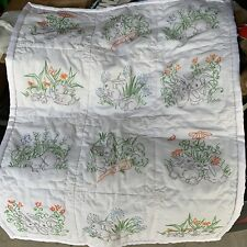Hand Quilted Embroidered Bunny Rabbits  Lap Baby Carrots Silk Edging Blanket
