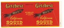 GETZBEST Brand, Getz Bros, Squid, *AN ORIGINAL 1940's TIN CAN LABEL* wear B31